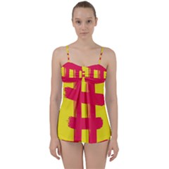 Fun Ain t Gone Fence Sign Red Yellow Flag Babydoll Tankini Set
