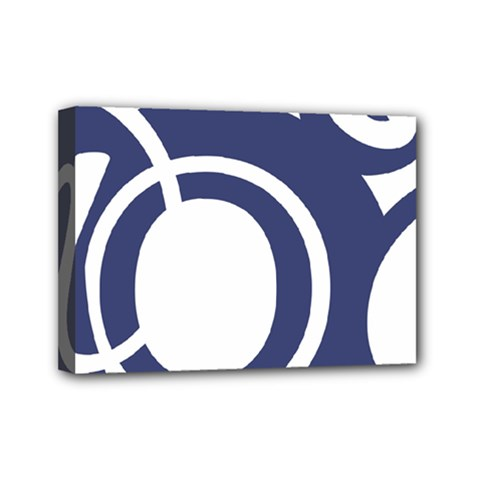 Garamond Blue White Wave Chevron Mini Canvas 7  X 5