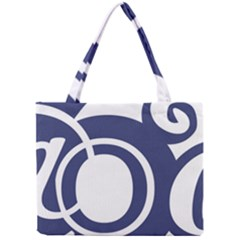 Garamond Blue White Wave Chevron Mini Tote Bag