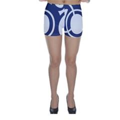 Garamond Blue White Wave Chevron Skinny Shorts