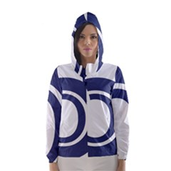 Garamond Blue White Wave Chevron Hooded Wind Breaker (women)