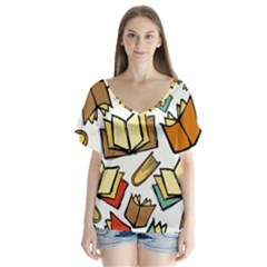 Friends Library Lobby Book Sale V Neck Flutter Sleeve Top