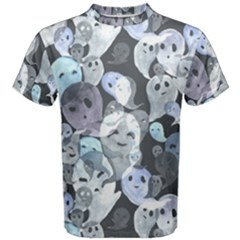 Ghosts Blue Sinister Helloween Face Mask Men s Cotton Tee
