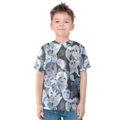 Ghosts Blue Sinister Helloween Face Mask Kids  Cotton Tee