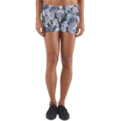 Ghosts Blue Sinister Helloween Face Mask Yoga Shorts