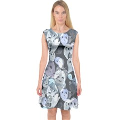 Ghosts Blue Sinister Helloween Face Mask Capsleeve Midi Dress