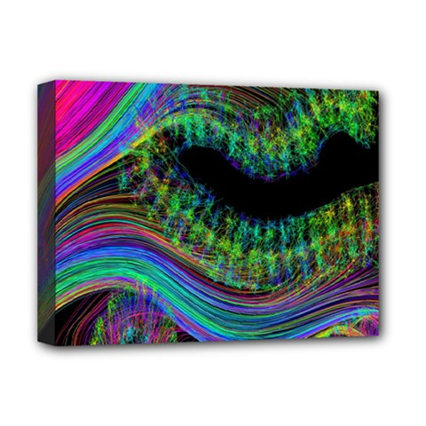 Aurora Wave Colorful Space Line Light Neon Visual Cortex Plate Deluxe Canvas 16  X 12