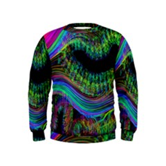Aurora Wave Colorful Space Line Light Neon Visual Cortex Plate Kids  Sweatshirt