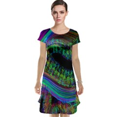 Aurora Wave Colorful Space Line Light Neon Visual Cortex Plate Cap Sleeve Nightdress