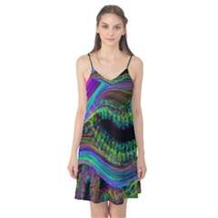 Aurora Wave Colorful Space Line Light Neon Visual Cortex Plate Camis Nightgown