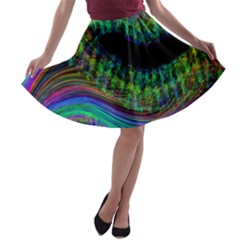 Aurora Wave Colorful Space Line Light Neon Visual Cortex Plate A Line Skater Skirt