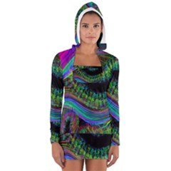 Aurora Wave Colorful Space Line Light Neon Visual Cortex Plate Long Sleeve Hooded T Shirt