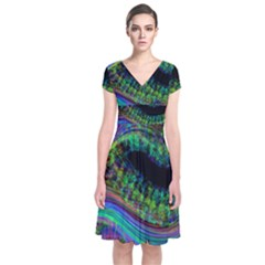 Aurora Wave Colorful Space Line Light Neon Visual Cortex Plate Short Sleeve Front Wrap Dress