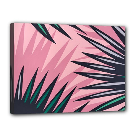 Graciela Detail Petticoat Palm Pink Green Canvas 16  X 12