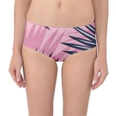 Graciela Detail Petticoat Palm Pink Green Mid Waist Bikini Bottoms