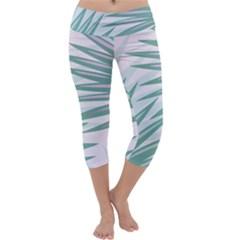 Graciela Detail Petticoat Palm Pink Green Gray Capri Yoga Leggings