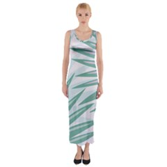 Graciela Detail Petticoat Palm Pink Green Gray Fitted Maxi Dress