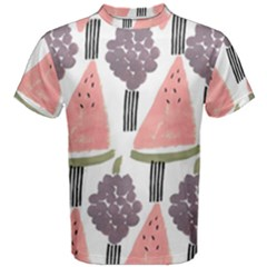 Grapes Watermelon Fruit Patterns Bouffants Broken Hearts Men s Cotton Tee
