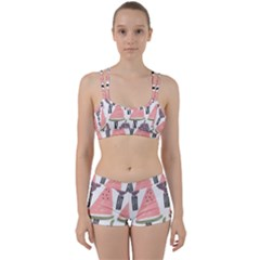 Grapes Watermelon Fruit Patterns Bouffants Broken Hearts Women s Sports Set