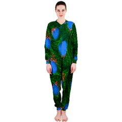 Fluorescence Microscopy Green Blue Onepiece Jumpsuit (ladies)