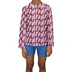 Letter Font Zapfino Appear Kids  Long Sleeve Swimwear