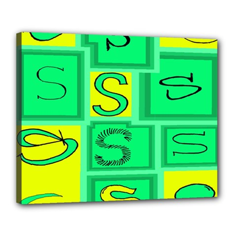 Letter Huruf S Sign Green Yellow Canvas 20  X 16