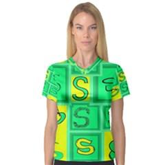 Letter Huruf S Sign Green Yellow V Neck Sport Mesh Tee