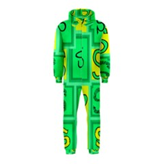 Letter Huruf S Sign Green Yellow Hooded Jumpsuit (kids)