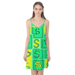 Letter Huruf S Sign Green Yellow Camis Nightgown