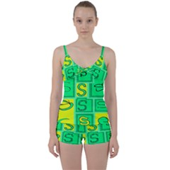 Letter Huruf S Sign Green Yellow Tie Front Two Piece Tankini