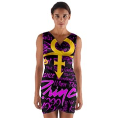 Prince Poster Wrap Front Bodycon Dress