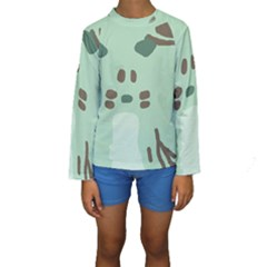 Lineless Background For Minty Wildlife Monster Kids  Long Sleeve Swimwear
