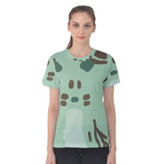 Lineless Background For Minty Wildlife Monster Women s Cotton Tee