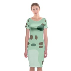 Lineless Background For Minty Wildlife Monster Classic Short Sleeve Midi Dress