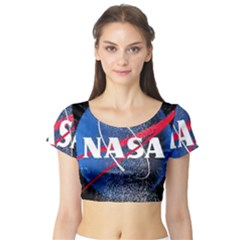 Nasa Logo Short Sleeve Crop Top (tight Fit)