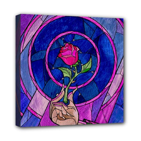 Enchanted Rose Stained Glass Mini Canvas 8  X 8