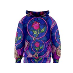 Enchanted Rose Stained Glass Kids  Pullover Hoodie