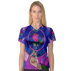 Enchanted Rose Stained Glass V Neck Sport Mesh Tee