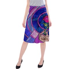 Enchanted Rose Stained Glass Midi Beach Skirt