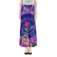 Enchanted Rose Stained Glass Full Length Maxi Skirt