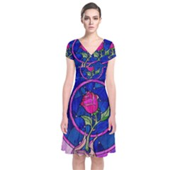 Enchanted Rose Stained Glass Short Sleeve Front Wrap Dress