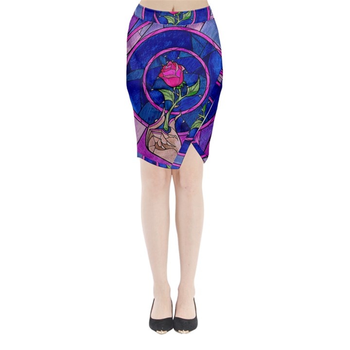 Enchanted Rose Stained Glass Midi Wrap Pencil Skirt