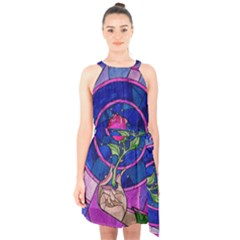 Enchanted Rose Stained Glass Halter Collar Waist Tie Chiffon Dress
