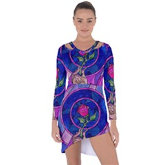 Enchanted Rose Stained Glass Asymmetric Cut Out Shift Dress