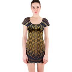 Bring Me The Horizon Cover Album Gold Short Sleeve Bodycon Dress