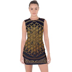 Bring Me The Horizon Cover Album Gold Lace Up Front Bodycon Dress