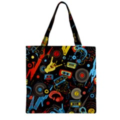 Music Pattern Zipper Grocery Tote Bag