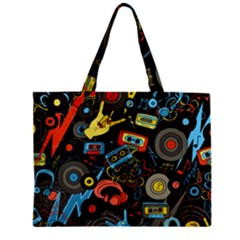 Music Pattern Zipper Mini Tote Bag