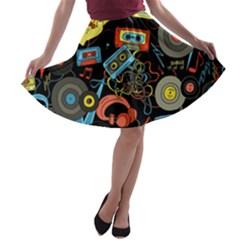 Music Pattern A Line Skater Skirt