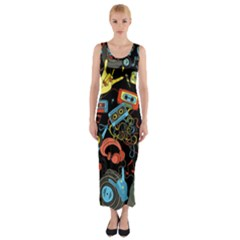 Music Pattern Fitted Maxi Dress